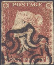 1841 1d Red SG8 Plate 19 'NC'
